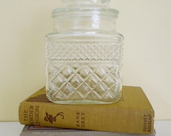 Vintage Glass Jar, Anchor Hocking Wexford, Storage Canister with Lid, Cottage Chic
