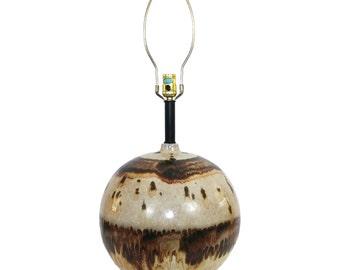 Mid-Century Modern Raymor Pottery Lamp Earth Tone Drip Glaze