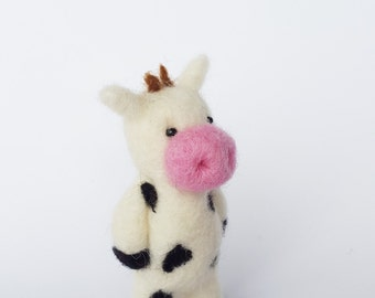 Cow Brooch,Farm Animal Brooch,Needle Felted Cow,Farmers Brooch,Country Animal