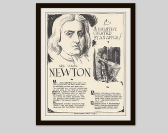 Sir Isaac Newton, Vintage Art Print, Classroom Art, Science Teacher Gift, Educational Art, Famous Scientist, Theory of Gravity, Science Art