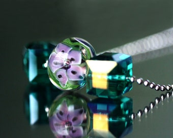 Lampwork flower bead and Crystal Necklace