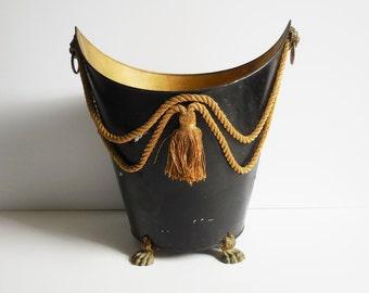 Vintage Trash Can Lion head rings claw footed feet black gold rope tassel Edwardian elegant garbage kindling firewood storage