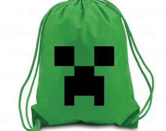 Creeper Drawstring Backpack - Creeper Gaming Bag - Nylon Drawstring Backpack - Creepers Gonna Creep - Gaming Drawstring Backpack