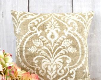 Farmhouse  Pillow / French Farmhouse Pillow / Tan Pillow Cover / Neutral Pillow Cover / Damask Pillow / Cottage Decor