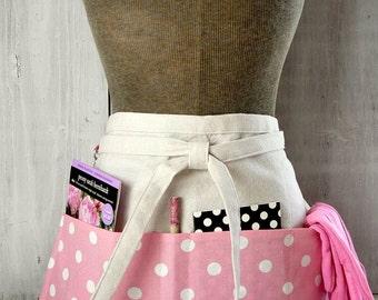 Pink Polka Dot Womens Half Apron - Pink Apron - Waitress - Teacher - Work Apron