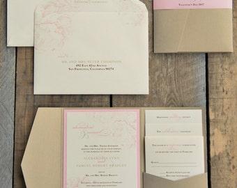 Blush pink peony wedding invitation suite SAMPLE SET, Pink and Gold wedding invitation Luxury pocket wedding invitations Pocketfold PBW003-S