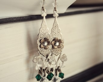 Aged and Distressed Brass & Swarovski Earrings - Emerald - Green - Silver - Victorian - Fantasy - Summer - Fall - October - Wedding - Bridal