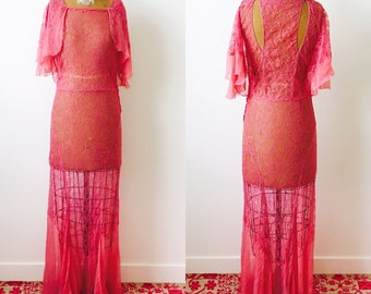 Vintage 1930s Silk Chiffon Lace Dress/Gown/1920s/Flapper/Bias cut