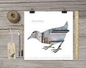 2016 calendar, bird silhouette art calendar, 6x6 7x7 8x8 monthly calendar 2016, woodland nursery, scandinavian design, blue, turquoise, gray