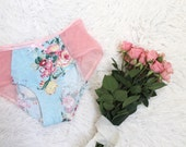 Floral and Mesh Hipster 'Tropical' Panties in Pink and Aqua Blue Handmade to Order