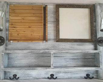 Entryway organizer, mail, mirror, coat rack, whiteboard, chalkboard, cork board, shelf, mirror with hooks