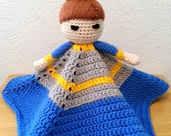 Prince Lovey Crochet Blanket, Blue Baby Blanket, Fairy Tale Security Blanket