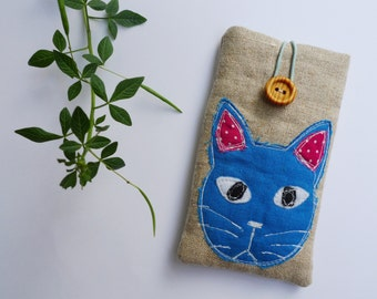 Phone Sleeve, iPhone SE Case, iPhone Cover, iPhone 5S Sleeve - applique blue cat