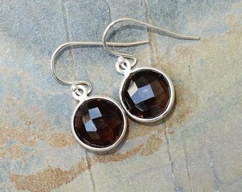 Smoky Quartz Earrings, Gemstone Earrings, Gray Brown Earrings, Sterling Silver Earrings, Modern Earrings, Smoky Quartz Jewelry