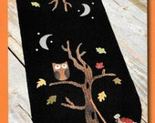 Wool Applique Pattern, An Autumn Mood, Wool Table Runner, Fall Decor, Autumn Decor, Primitive Decor, Owl, Pumpkin, Nutmeg Hare, PATTERN ONLY
