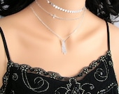 Sterling Silver Coin Choker Necklace Disc Tatoo Choker Simple Layering Chain Necklace Chic Bohemian Choker Modern Everyday Jewelry