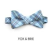 Sky Plaid Bow Tie