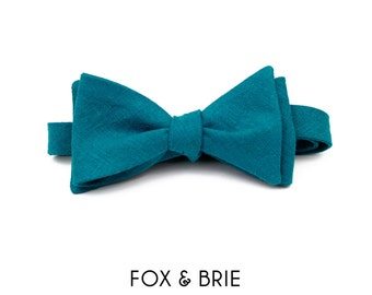 Teal Linen Bow Tie