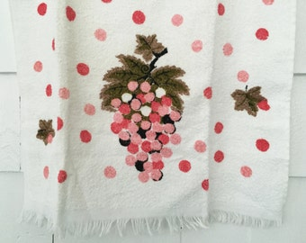 """Vintage Terry Cloth Kitchen Towel by Cannon, Mid Century Pink Coral Grapes Polka Dots All Cotton Never Used Made in USA, 18"""" x 29"""" Dishcloth"""