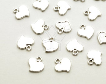 PD-1652-MS / 6 Pcs - Tiny Flat Heart Charms, Small Heart Pendant, Matte Silver Plated over Brass / 6mm x 6.5mm