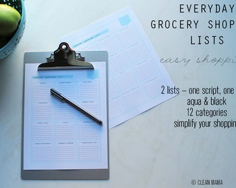 MENU - Clean Mama's EVERYDAY Grocery Shopping Lists - 2 documents - script and block - Instant Download