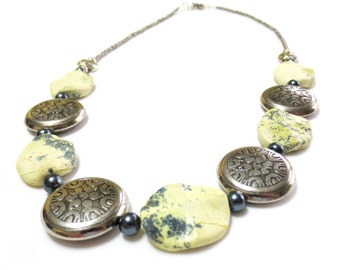 Yellow Turquoise Necklace, Serpentine and Gray Pearls, Pewter and Silver, Elegant Necklace, Gunmetal Gray Toggle Clasp, Statement Necklace