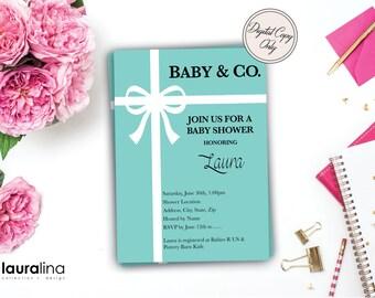 Printable Tiffany Inspired Baby Shower Invitations