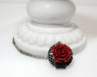 Rose Locket - Victorian Filigree Locket Necklace