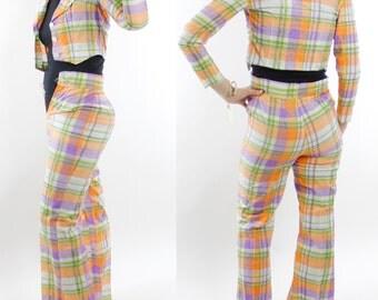 "Vintage 70's two piece blazer & pants set, funky pastel plaid, cropped blazer, bell bottom pants, teen size or XXS, 24"" waist no stretch"