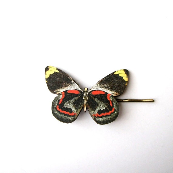 red & black butterfly hairpin bobby pin fall fashion hair accessories / hair grips