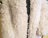 Loop Knit Coat. Shaggy Knit Coat. Shaggy Jacket. Loop Knit Jacket. White Winter Coat.