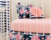 Stripe and Floral Pillow, Coral and Navy nursery decor, Peach and Navy Ruffle bedding, Baby Bedding, Decorative Pillows, Kate Spade inspired