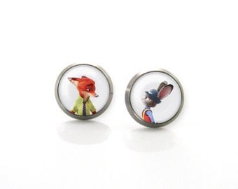 Zootopia Nick Wild Judy Hops Disney Titanium Post Earrings | Hypoallergenic Sensitive Stud | Titanium Baby Cute Girls Children earrings