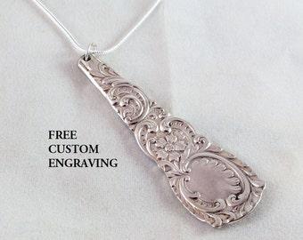 HARVARD 1892 Spoon Pendant Necklace, FREE ENGRAVING,  Bridesmaid, Vintage Wedding, Silver Silverware Jewelry