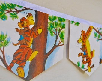 WINNIE the POOH and TIGGER Banner Vintage Little Golden Book Bunting Banner Paper Children Repurposed Decoration eco friendly gift