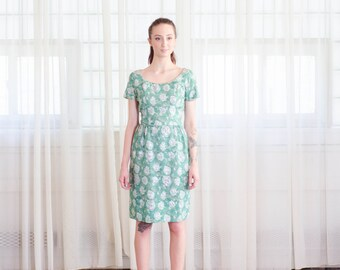 Vintage 1960s Aqua Dress - 60s Floral Dress