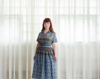 Vintage 1950s Dress - Folk Print 50s Dress - Me Myself & I Dress
