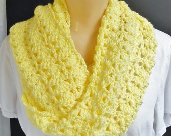 Yellow Crochet Scarf Handmade Long Lacey Crochet Wrap Shoulder Neck Warmer Gift for Women, Soft Yellow Scarf
