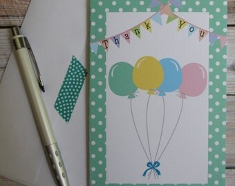 Balloon Party Custom Thank You Notes - Up, Up, and Away Collection