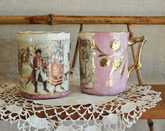 2  19th Century Pink Lustre Soft Paste Cups With Czech Opera The Bartered Bride Scenes