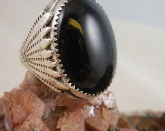 Black Onyx Mens Sterling Silver Ring