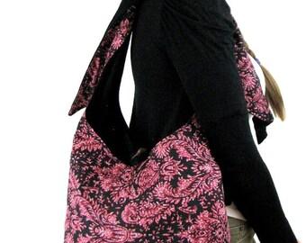 PINK CROSSBODY BAG - Hippie Bag - Vegan Purse - Over Shoulder Bag - Cross Body Bag - Hobo Bag - Across Body Bag - Boho Bag - Handmade Bag