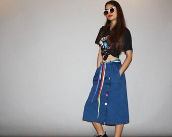 1970s Vintage Rainbow Midi Skirt  - Vintage Rainbow Skirt   -  70s  Skirts  - wd0485