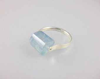 Genuine Aquamarine Ring, Uniquely Handcrafted in Sterling Silver. Gift for Women. Choose your own Stone.