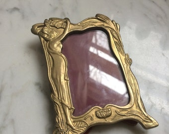 Vintage Brass Art Nouveau Lady with flowers Brass Small Picture Photo Frame