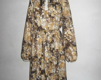 VTG Brown Multicolor Floral Print Keyhole Poet Sleeve Flared Mod Disco Hippie Boho Secretary Dress