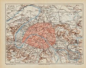 1889 Victorian PARIS CITY MAP,  Old Europe, lithograph print.