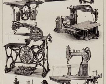 1893 Antique print of a SEWING MACHINE