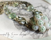 Chardonnay necklace~ vintage assemblage necklace one of a kind grape fruit pendant green rhinestones crowned by grace
