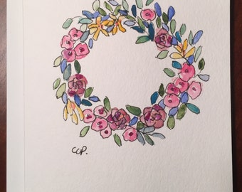 Floral Wreath Watercolor Card / Hand Painted Watercolor Card